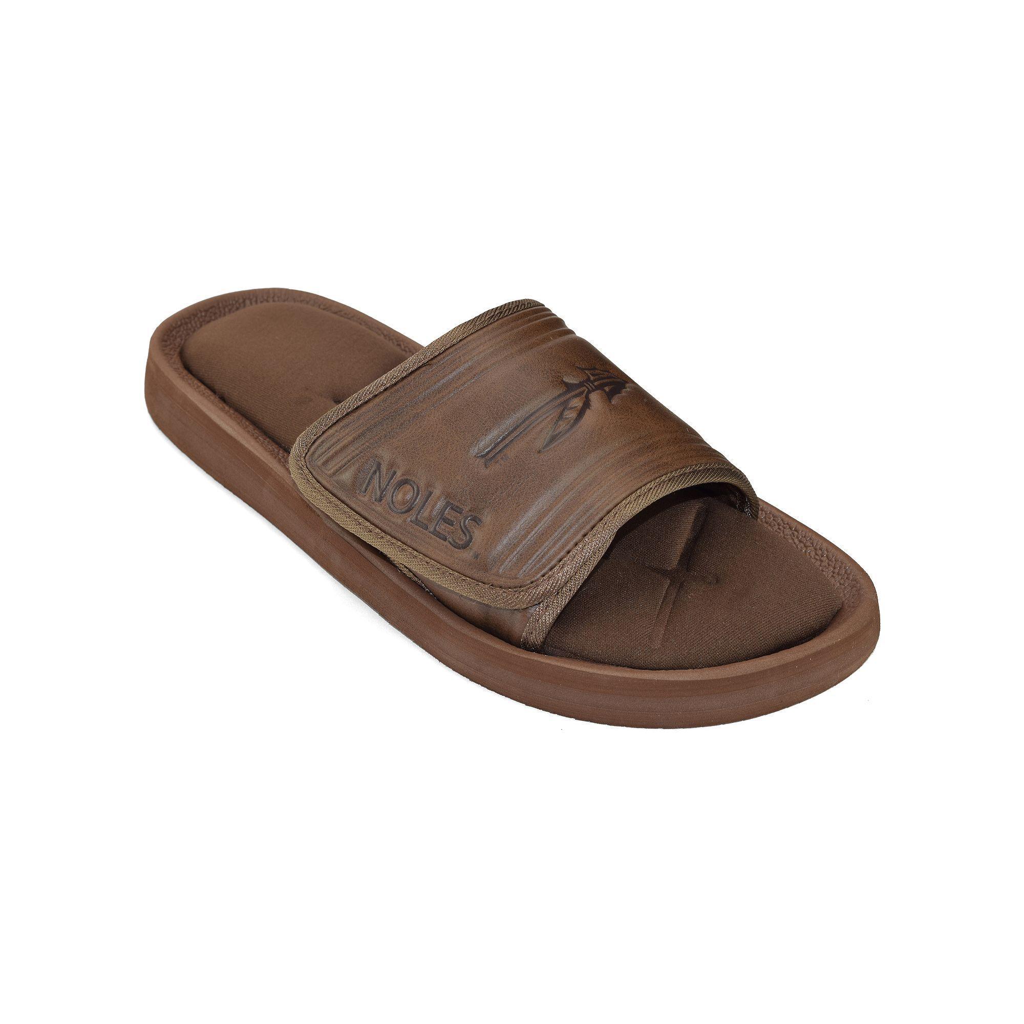 Adult Florida State Seminoles Memory Foam Slide Sandals Mens Size XL Brown
