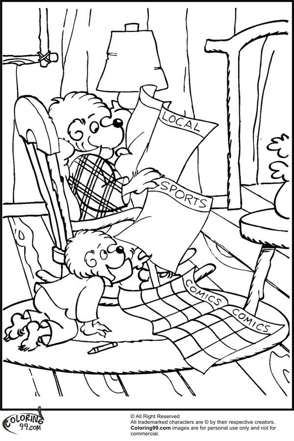 Berenstain Papa And Brother Bear Coloring Pages Jpg 600 900