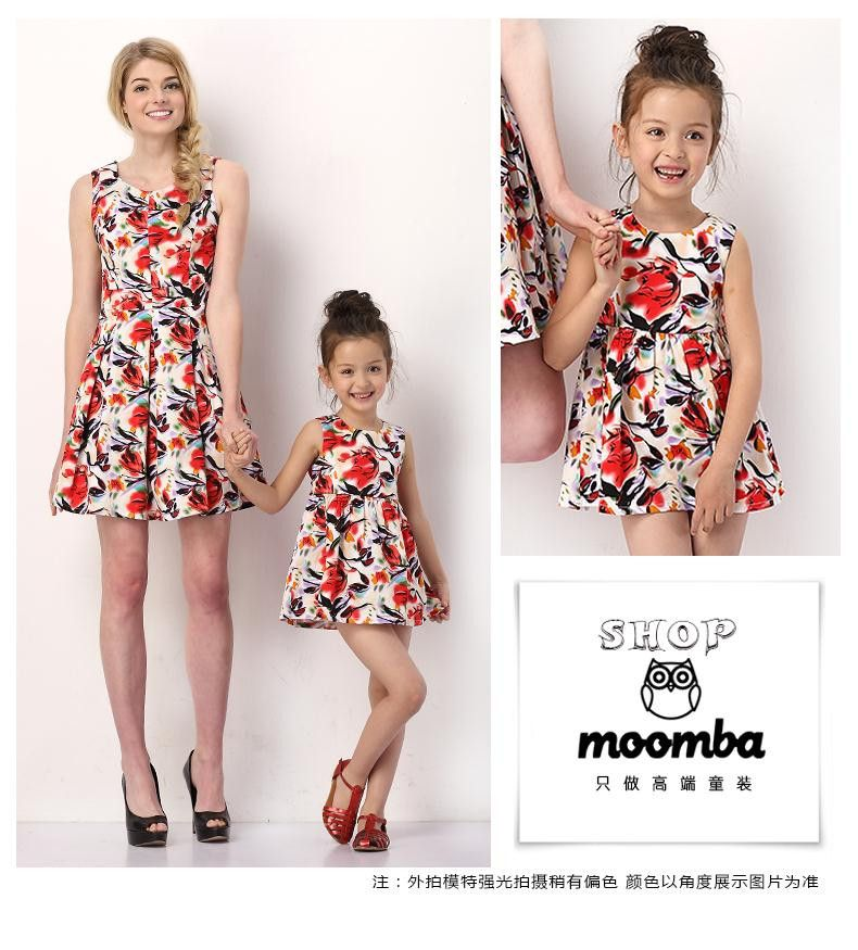 2015 Matching Mother Daughter Clothes Summer Red Flower Printed Vest Dress Cotton Mom and Daughter Family Matching Outfits C20