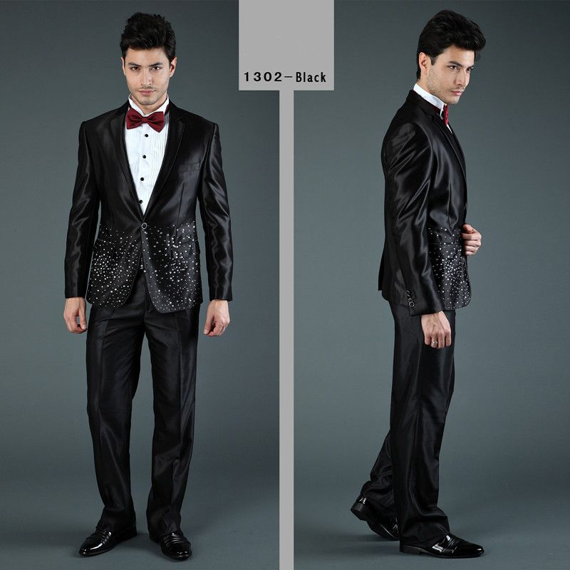 male prom attire | ... -Men-s-Hot-Drilling-Wedding-Attire-Black ...