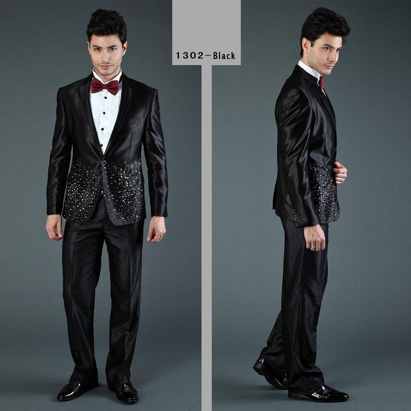 male prom attire | ... -Men-s-Hot-Drilling-Wedding-Attire-Black ...