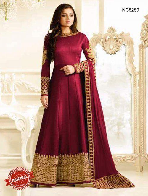 3b6a5f82ef Madhubala Maroon Semi Silk Anarkali Suit | Designer Anarkali Suits ...