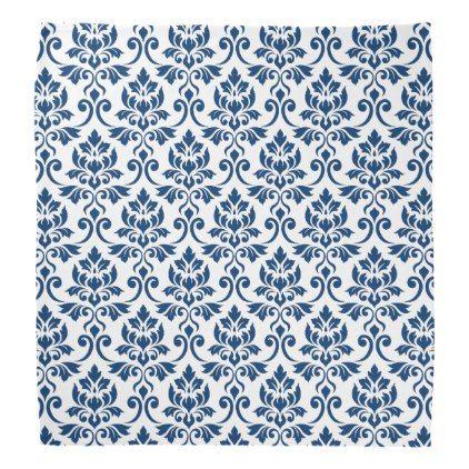 feuille damask pattern dark blue on white bandana in 2018 pattern