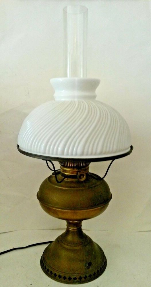 Antique converted kerosene lamp brass swirl ribbed milk glass shade antique converted kerosene lamp brass swirl ribbed milk glass shade gonewiththewindkeroseneconverted aloadofball Gallery