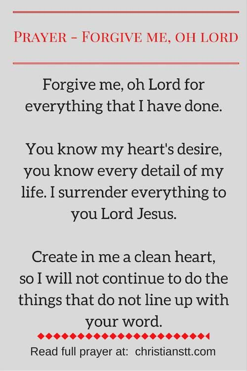 Prayer - Forgive me my sins, Oh Lord | Prayers | Prayer for
