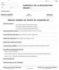 Pv De Visite Chantier Exemples En Word Doc Et Pdf Chantier Lecture De Plan Planning Chantier