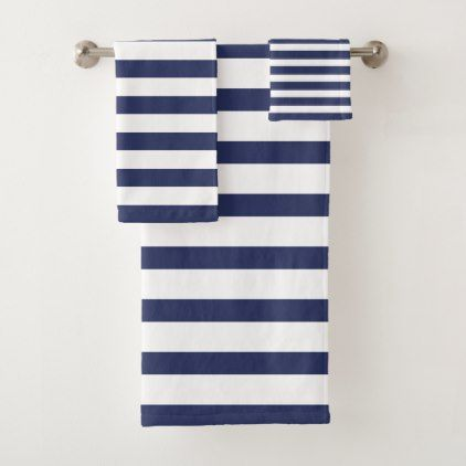 modern navy blue and white striped bath towel set | zazzle