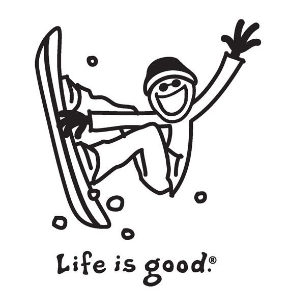 Life Is Good Good Vibes Ski And Snowboard Coloring Pages