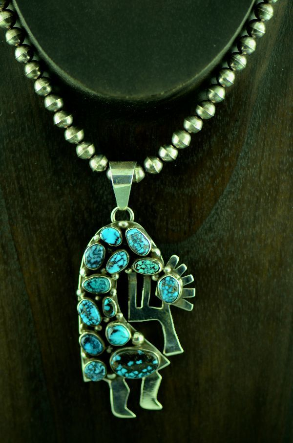Navajo sterling silver bisbee turquoise kokopelli pendant and navajo sterling silver bisbee turquoise kokopelli pendant and necklace by bea tom aloadofball Choice Image