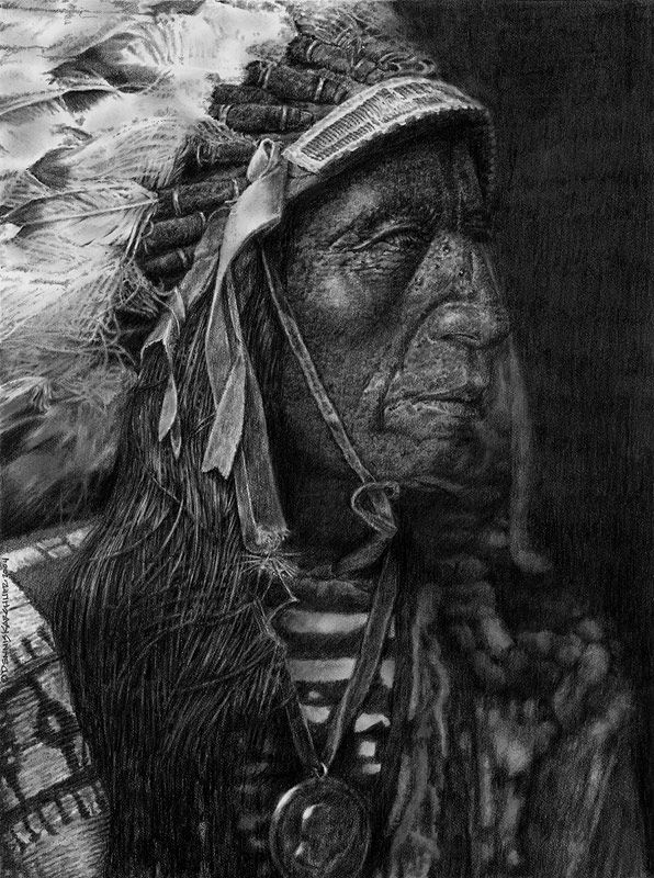 Native American Art Drawings | Native American Western Art - Jack Red Cloud Graphite Drawing