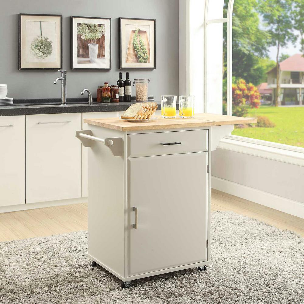 Usl Townville Polar White Kitchen Cart With Drop Leaf In 2020 Kitchen Design Small Kitchen Cart Kitchen Remodel