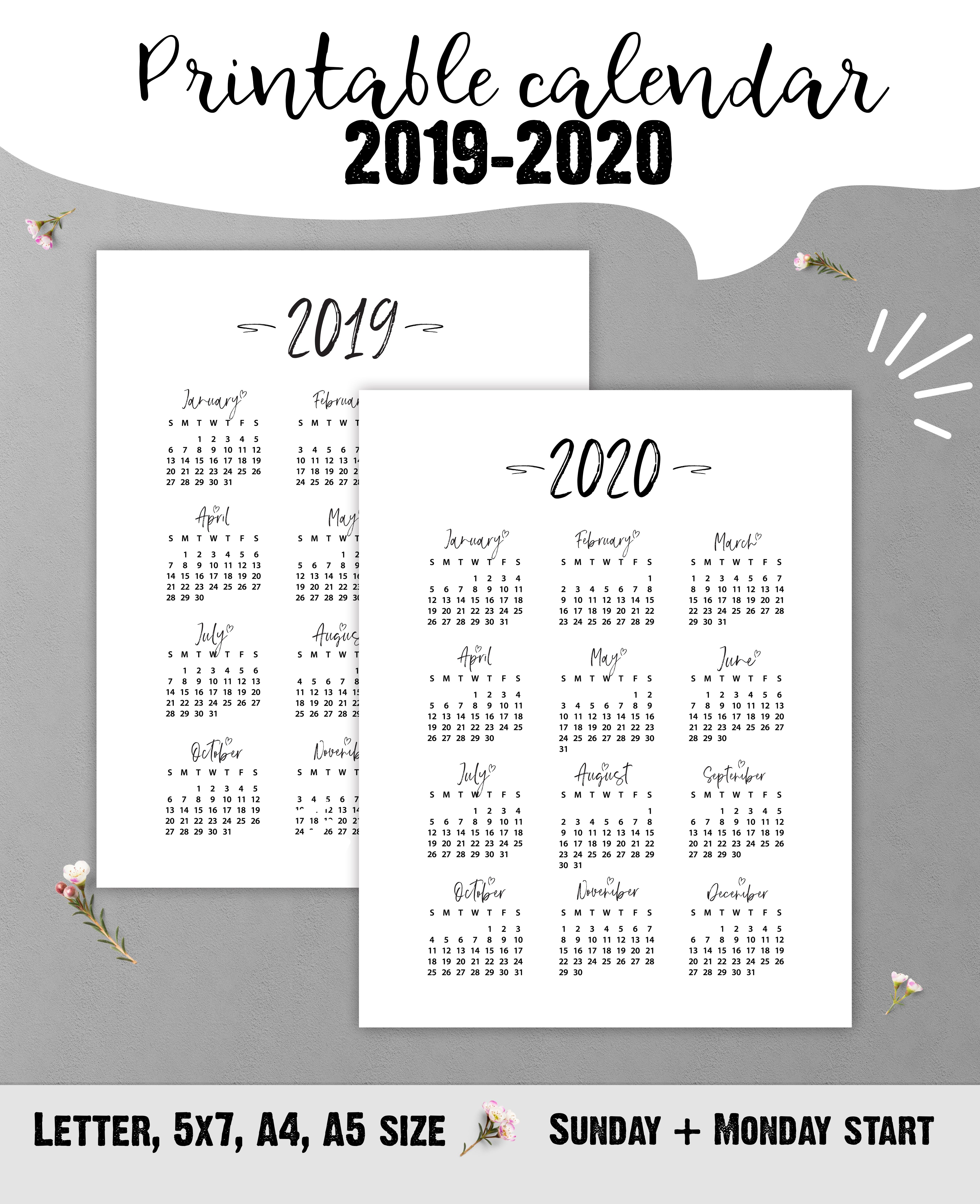 Printable 20202021 Yearly Calendar, Planner Inserts, 5x7