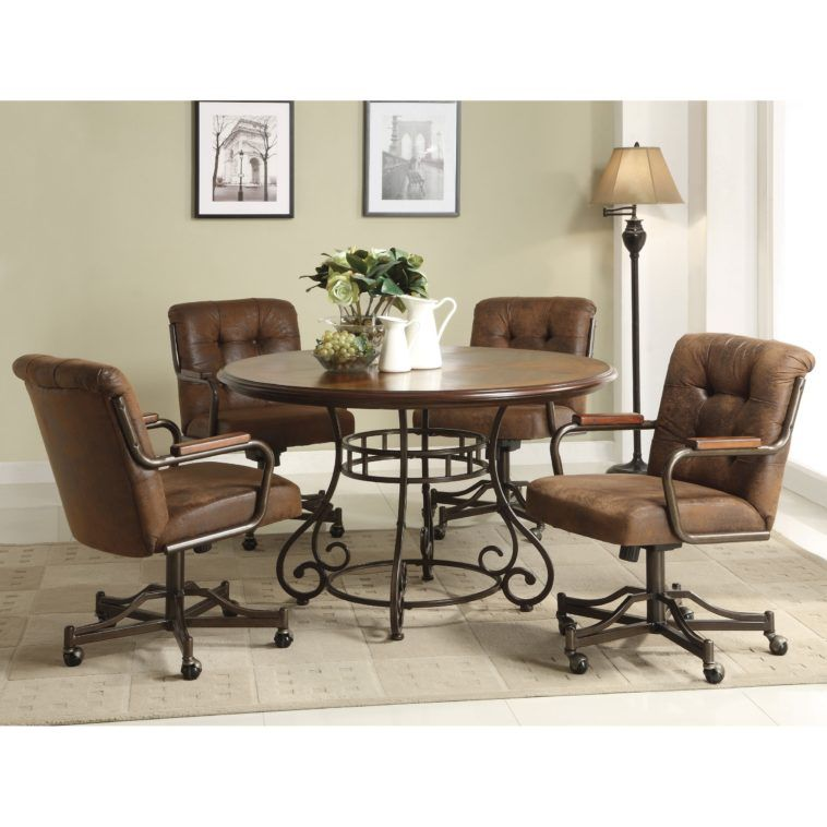 Brown Leather Kitchen Chairs With Wheels Having Tufted Backrest And Black Metal Arm Combined By Round Brown Table With Black Metal Base On Grey Rug Dinette Chairs
