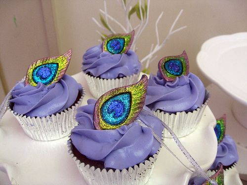 Peacock Themed Bridal Shower Cupcakes