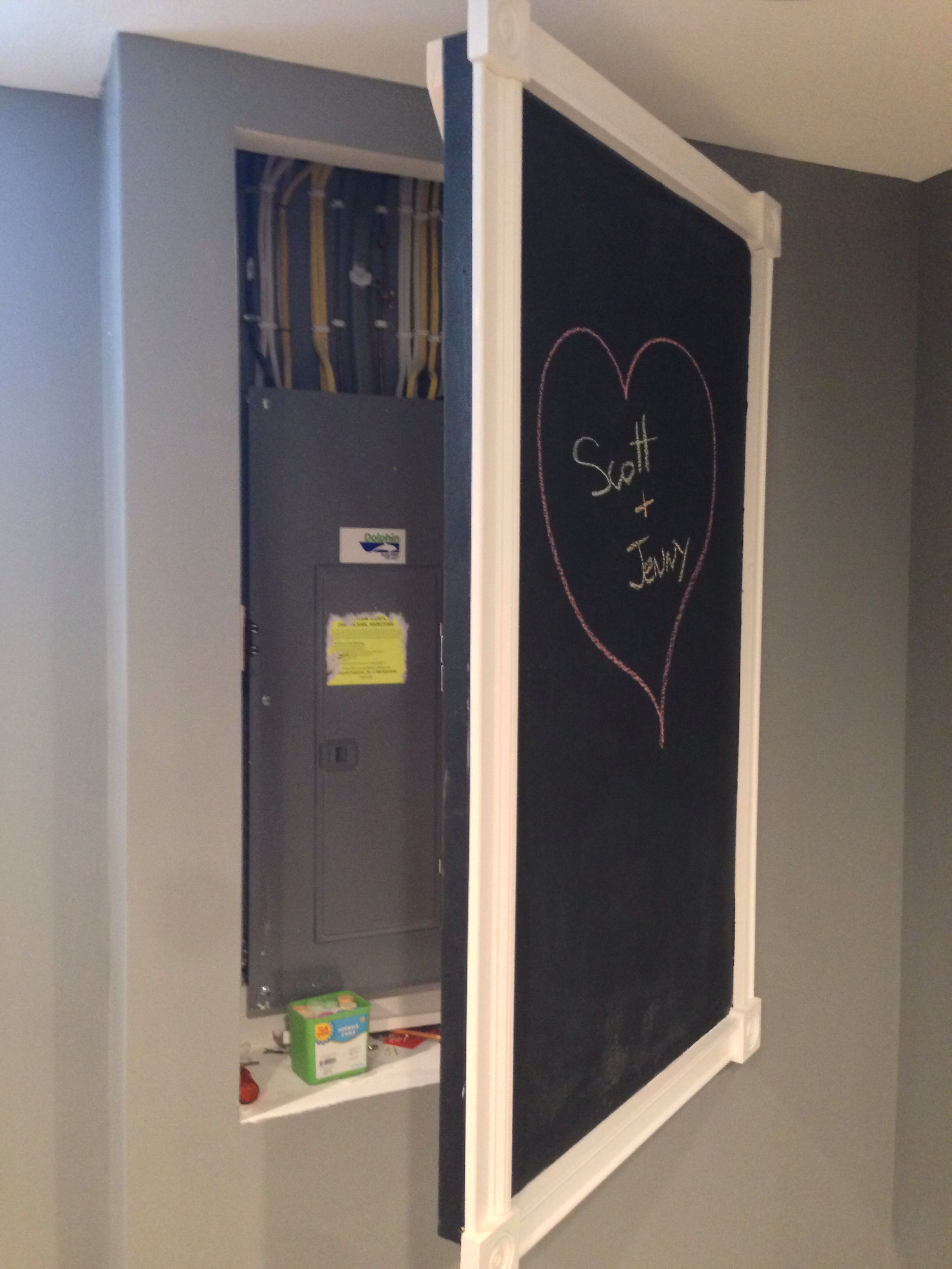 chalkboard door to cover electrical panel cacher. Black Bedroom Furniture Sets. Home Design Ideas