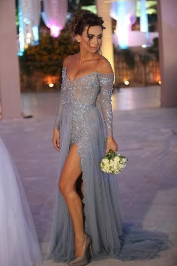 Custom Long Sleeves Prom Dresses, Silver Prom Gowns, Chiffon Prom ...