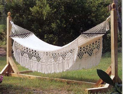 hammock stand that could double as an arbor for rose canopy