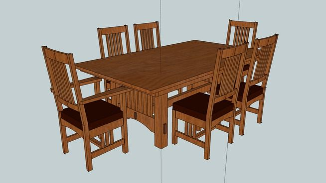 Large Preview Of 3d Model Of Mission Table And Chairs Final