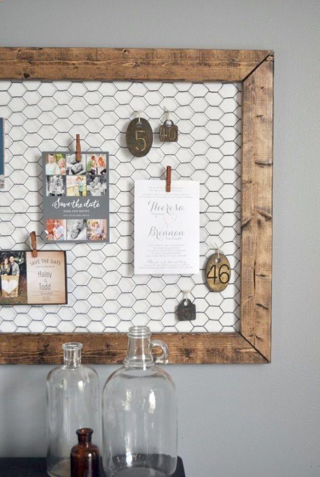 Best DIY Ideas With Chicken Wire   DIY Office Memo Board   Rustic Farmhouse  Decor Tutorials