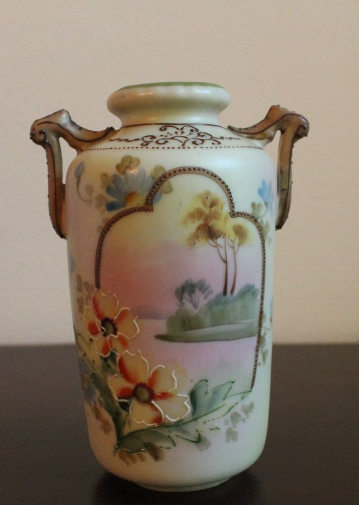 Antique Nippon Morimura Mark 4 Porcelain Hand Painted Vase Moriage