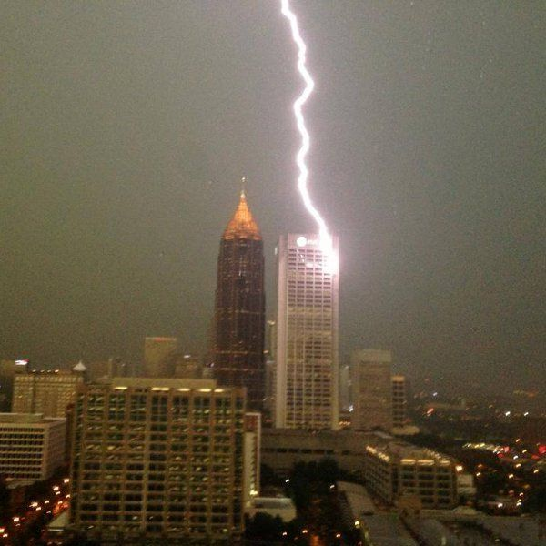Lighting Strikes The At Building In Atlanta Video Christ The