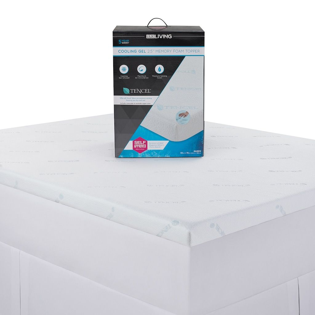 Lux Living 2 5 Inch Cooling Memory Foam Mattress Topper White Memory Foam Mattress Topper