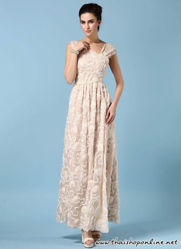 ชุดเดรสยาว ผ้าไหมชนิดเนื้อบางเงา สีครีม ไหล่เฉียงเหมือนแบบ ราคา 890 บาท รหัส SC4393 โทร 083-4956364 (ต้อม)