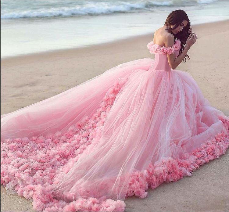 Modest Quinceanera Dress,Pink Ball Gown,Floral Prom Dress ...