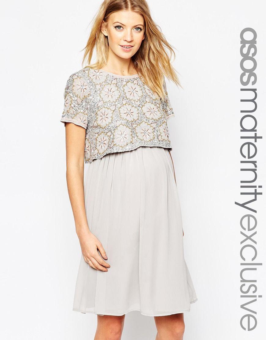 e09dc245132bc Maternity NURSING Embellished Midi Dress | Bump Apparel | Asos ...