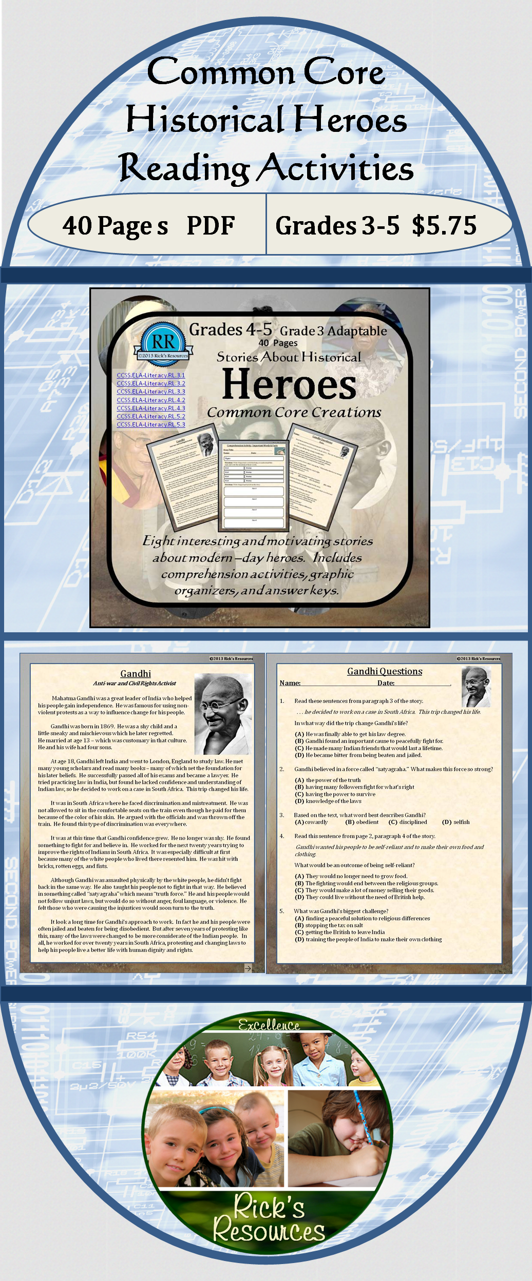 Heroes of History Biographies Reading Comprehension ...