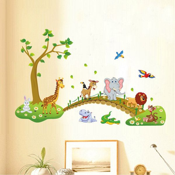 DIY Tree Cartoon Elephant lion Removable Decal Home Decor Wall ...