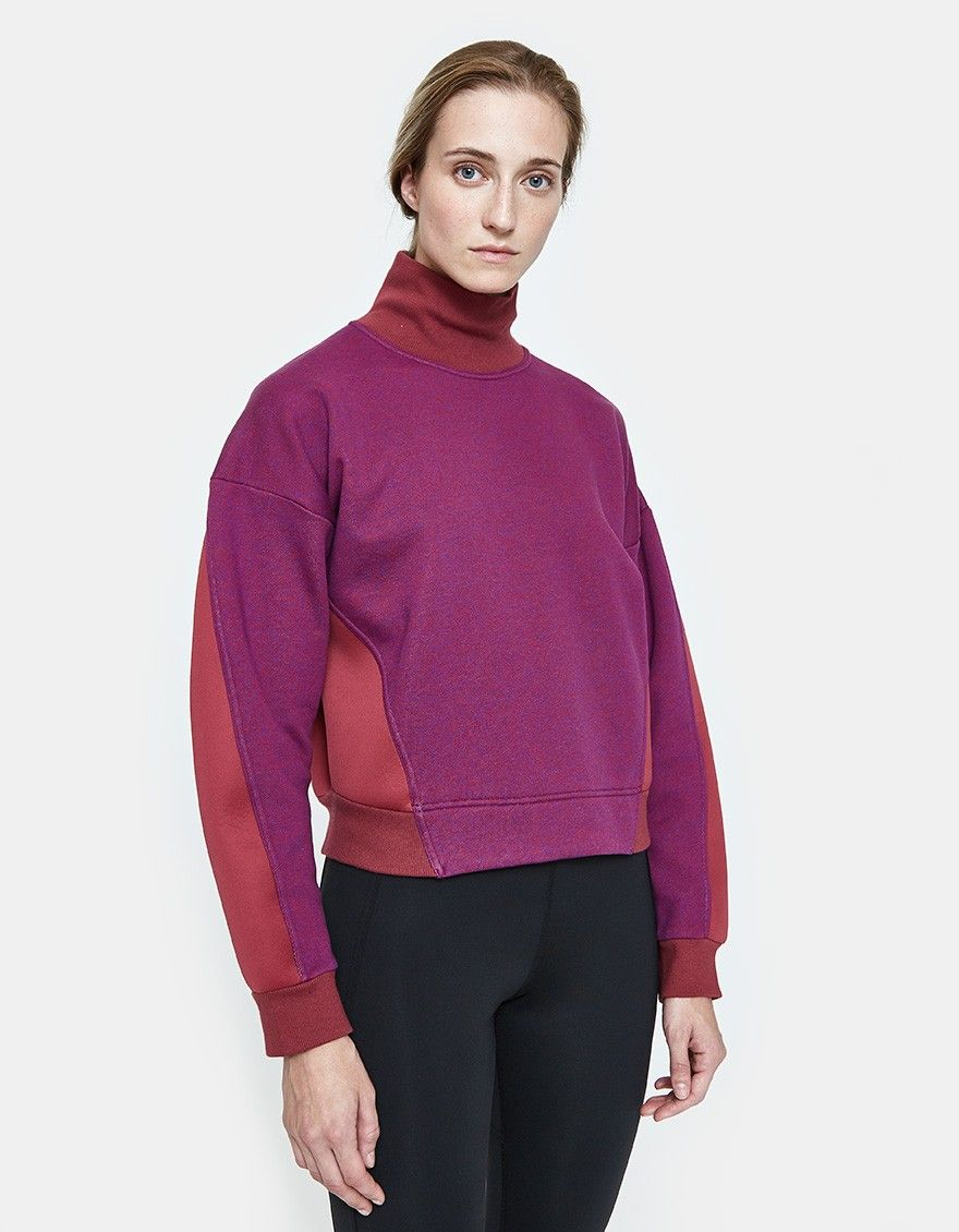 f632558879d52b Athletic sweatshirt from Adidas by Stella McCartney in Cerise Melange.  Ribbed melange knit at front. Spacer fabric at back. Stand-up collar.