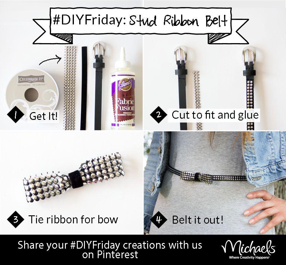 Create your own #DIYFriday Stud Ribbon Belt using belt, studded Celebrate It ribbon, skinny black ribbon and Fabric Fusion glue.
