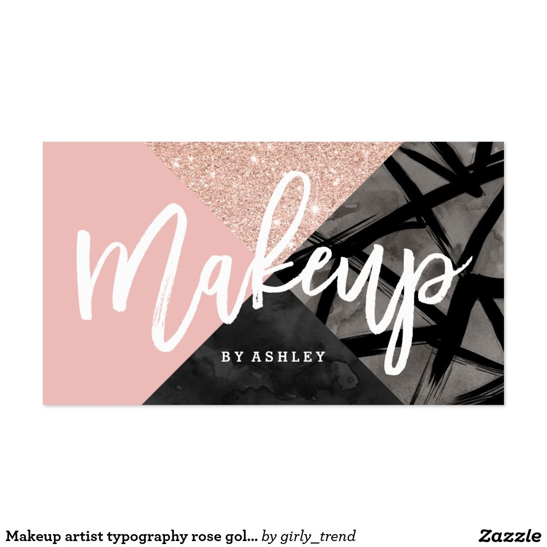 Makeup artist typography rose gold color block business card | MAKE ...