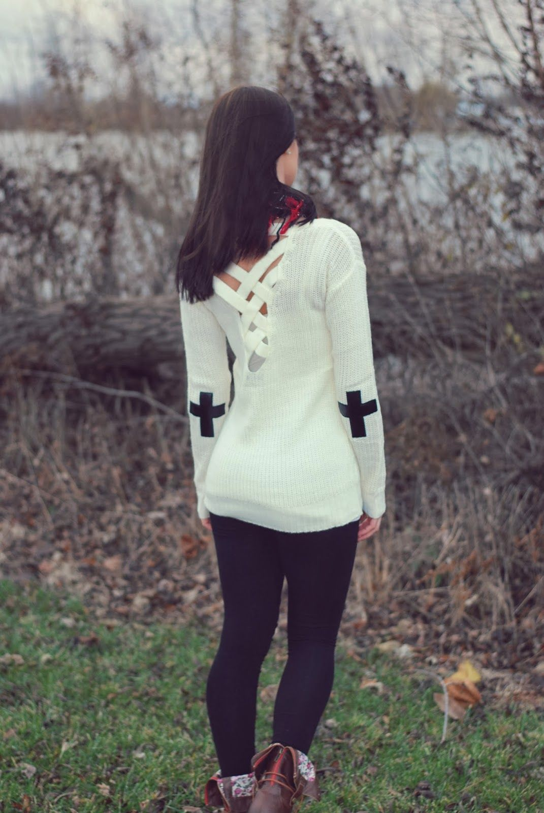 Cross elbow patches - love this sweater!