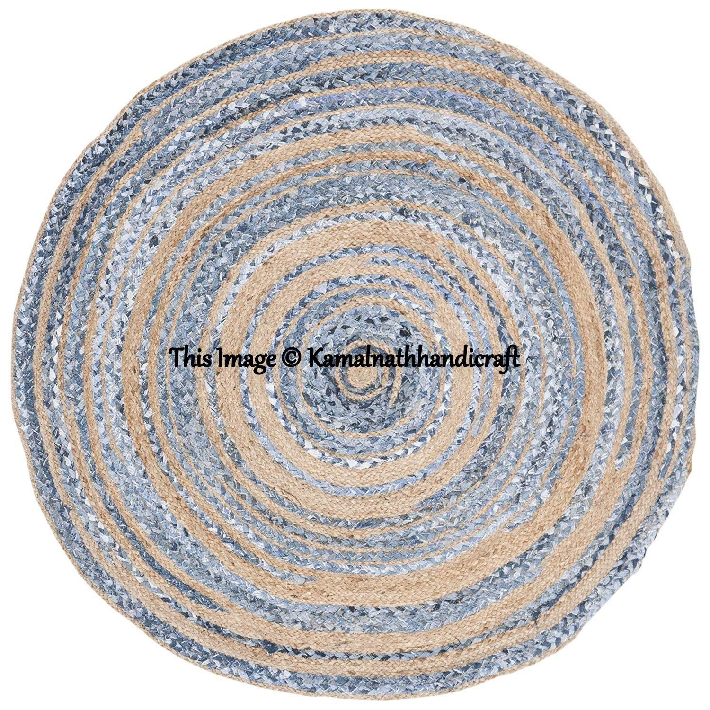 Indian Handmade Hand Braided Bohemian Jute And Cotton Chindi Area