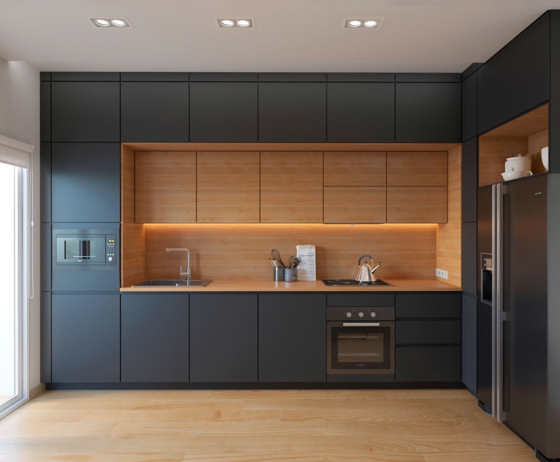 Diseño de cocinas de tamaño pequeño con distribución lineal y en forma de  L