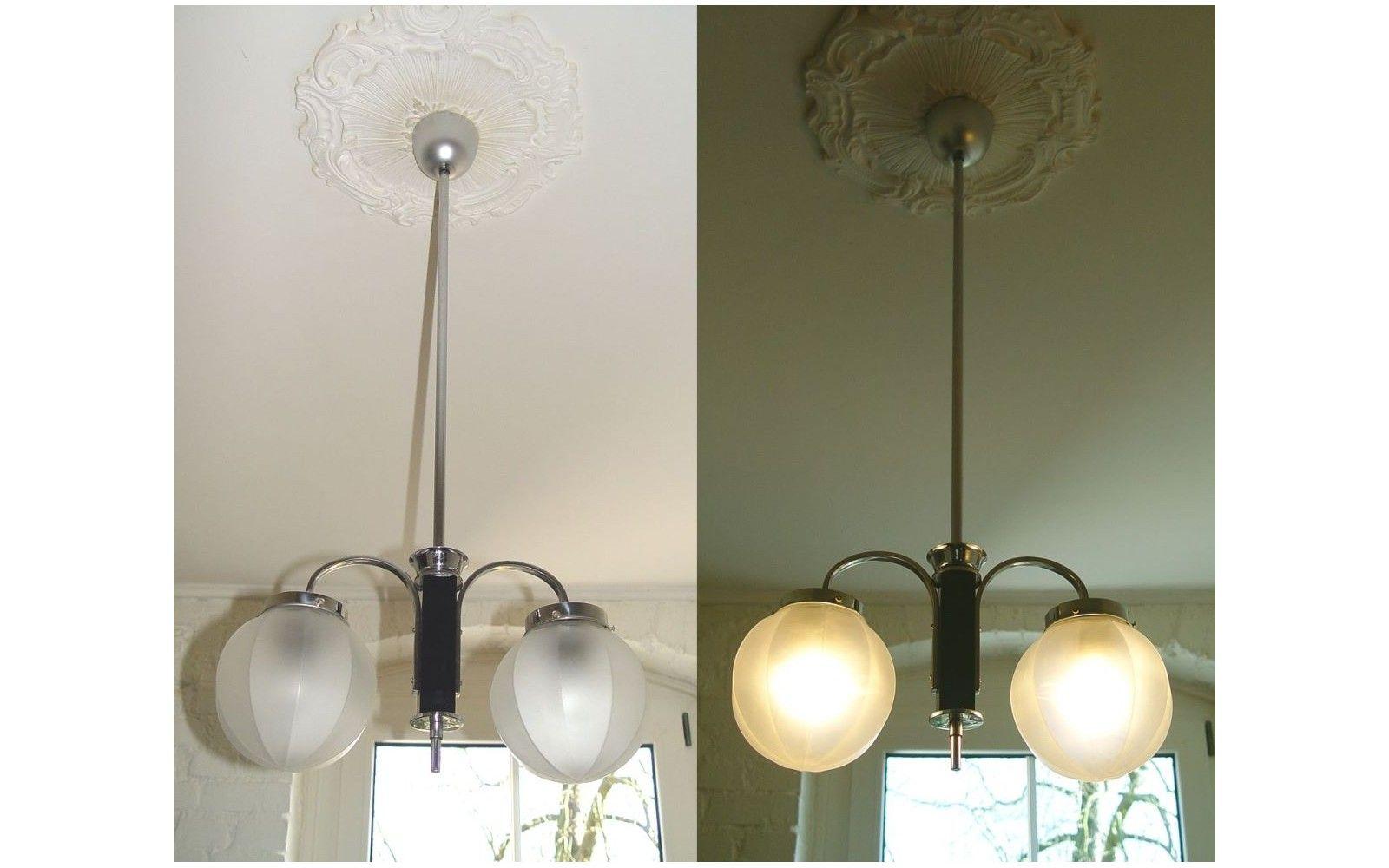Wohnzimmerlampe Decke ~ Art deco antike decken hänge lampe arm chrom orig um