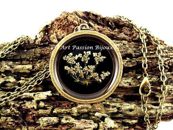 White flowers resin pendant, terrarium necklace, nature spring