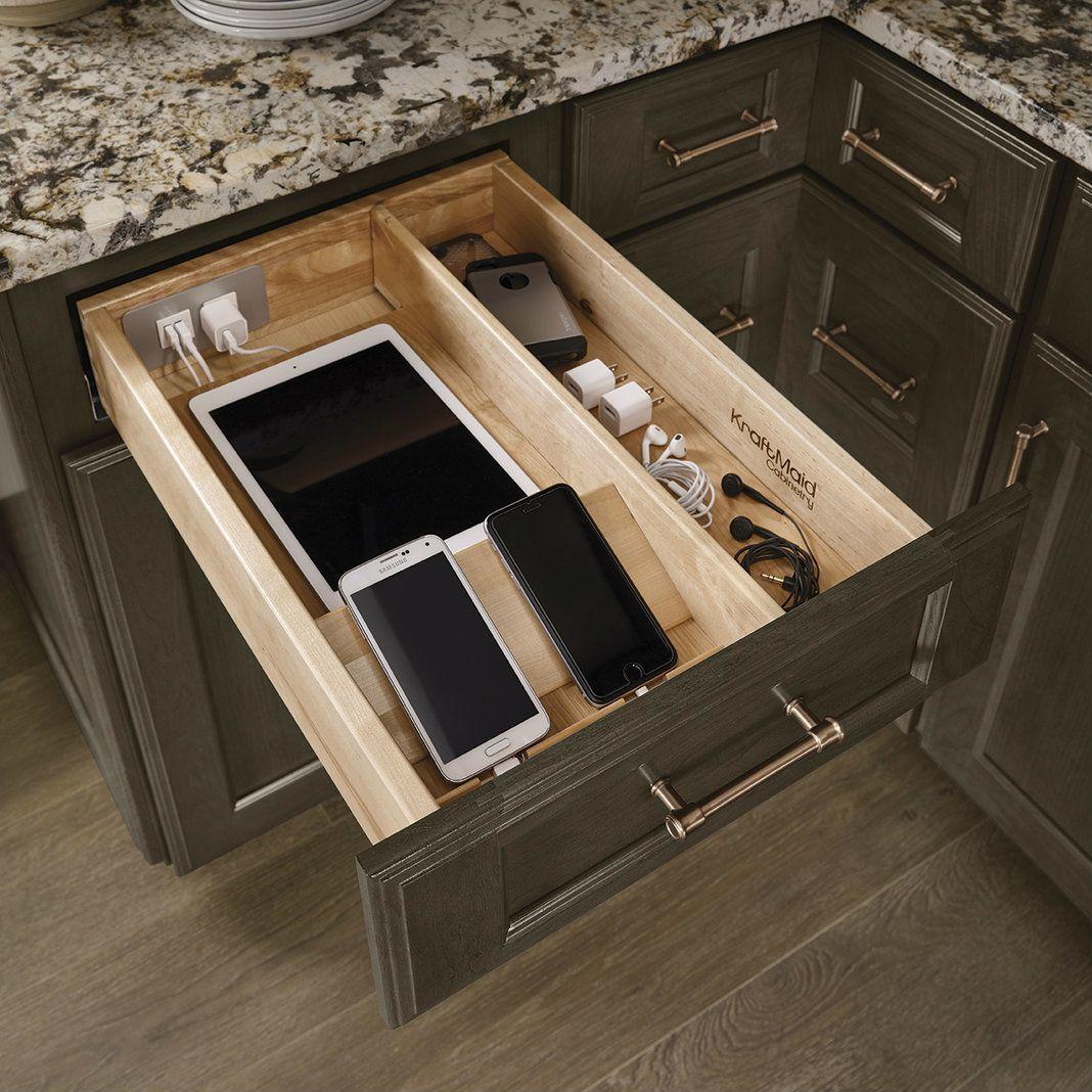 Küchenideen l geformtes design charging drawer  kraftmaid kraftmaid  kitchen cabinets ideas in