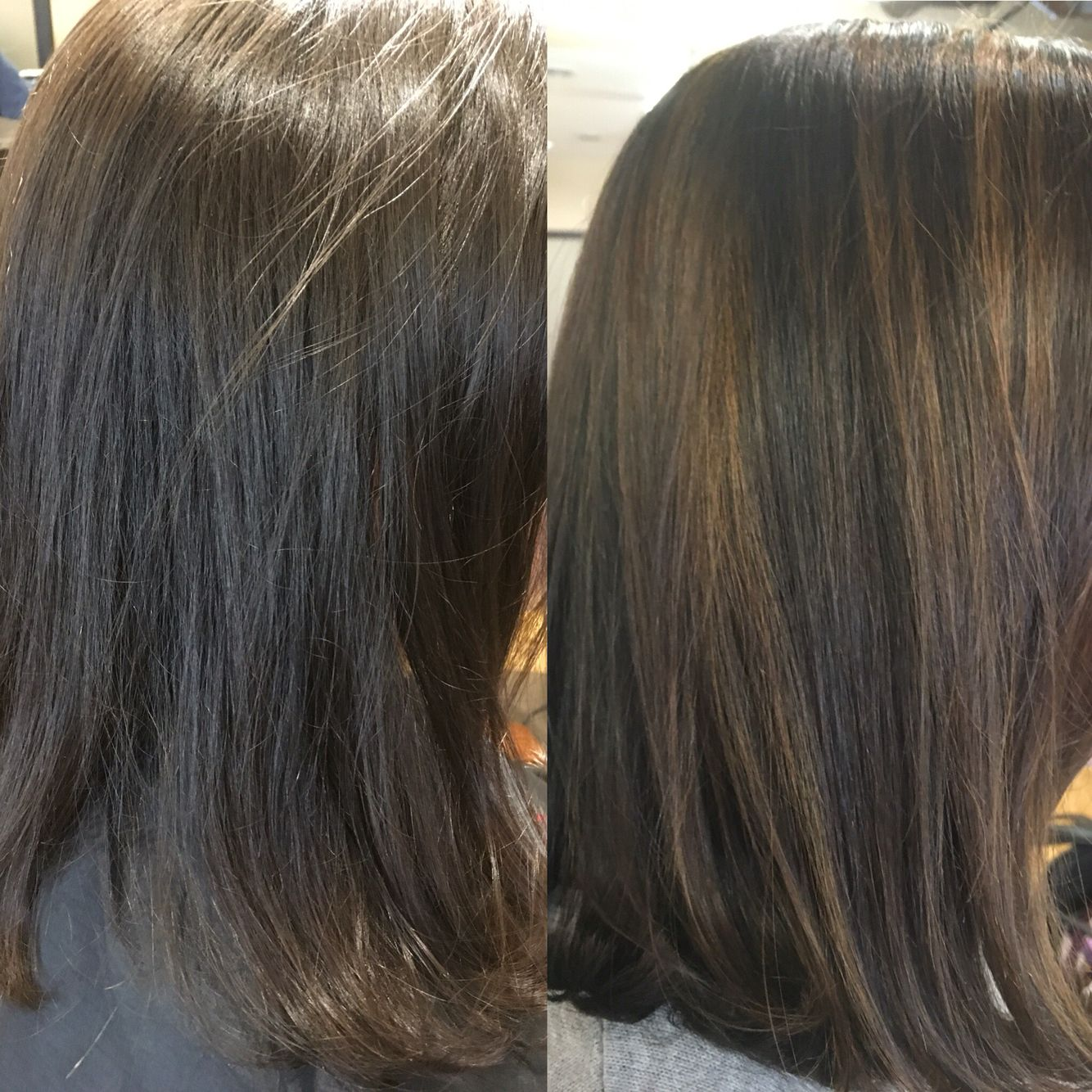 Before and after sun-kissed highlights on natural brunette hair ...