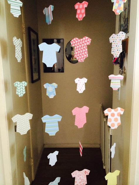 Baby shower decoration welcome home onesie garlands boy girl or unisex options also diy amazing decorations games and food rh pinterest