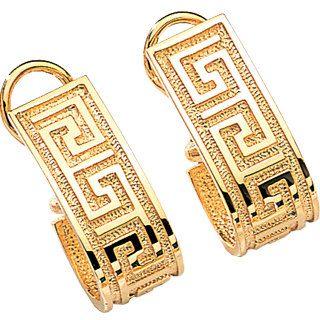 14k Yellow Gold Greek Key French Clip Post Earrings Design Greece