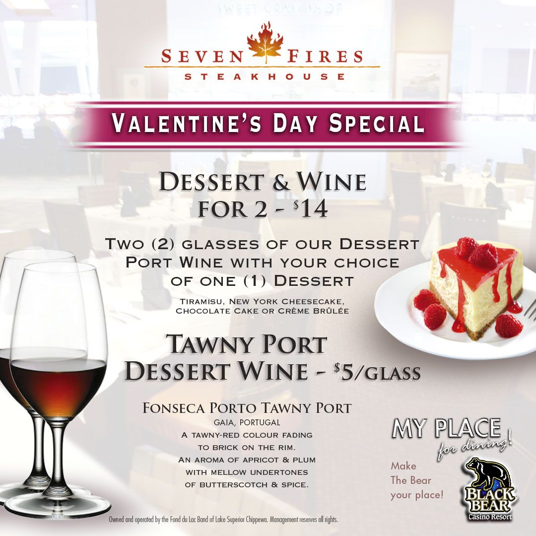 Valentines Day in the Steakhouse Wine desserts, Special