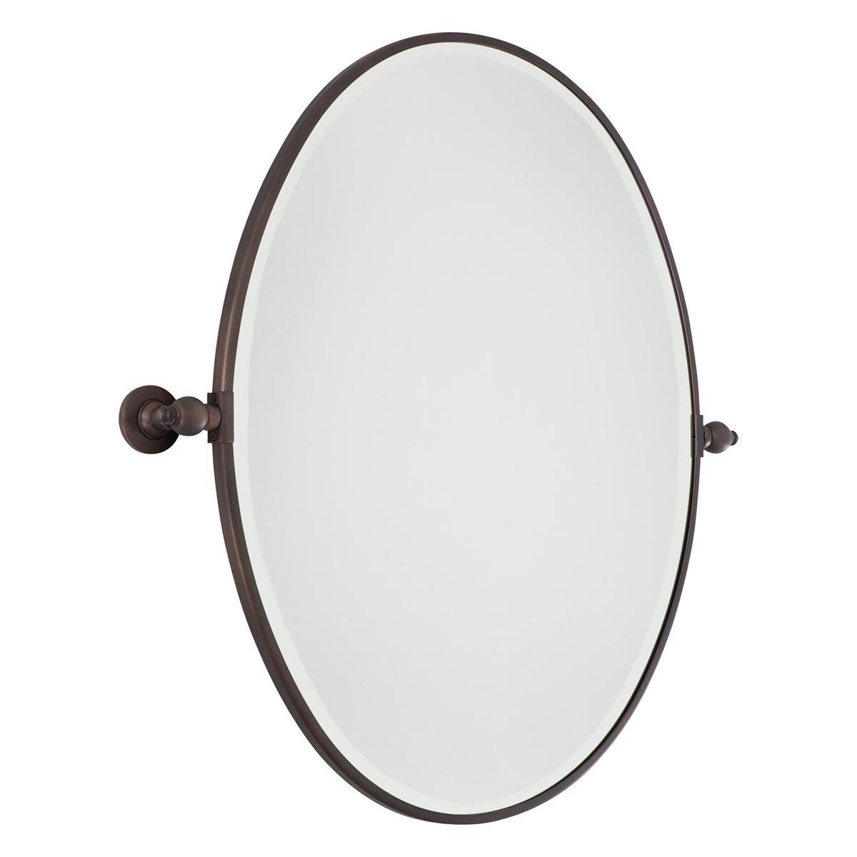 Oiled Bronze Bathroom Mirror: Oval Tilt Bathroom Mirror Large - 3 Finishes