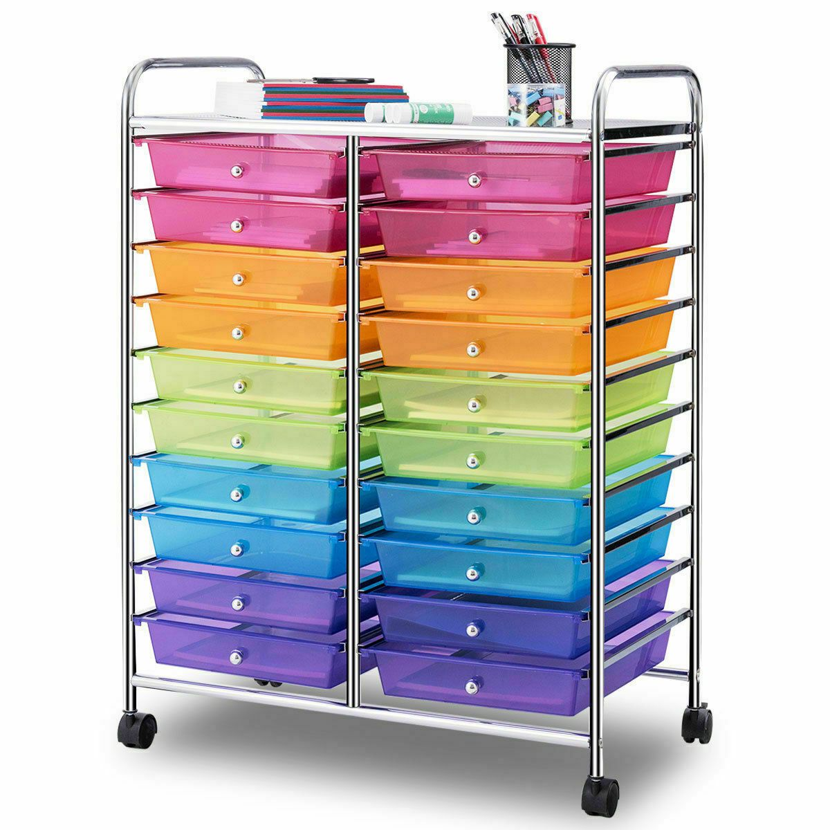 Details about 20 drawers rolling cart storage multi color