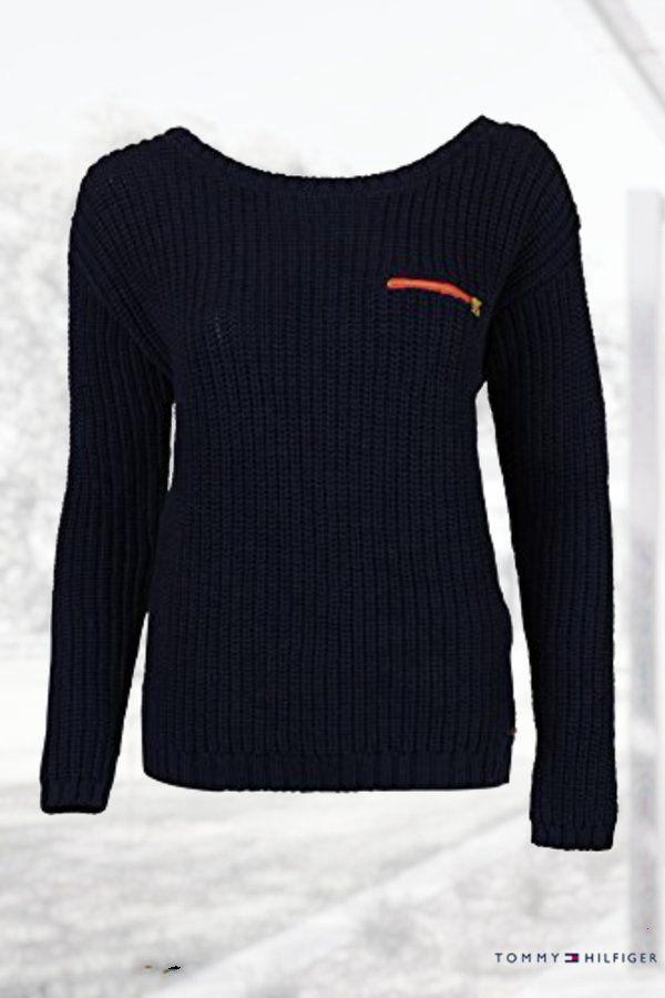 Tommy Hilfiger Navy Knit Women's Large Boat Neck Sweater ...