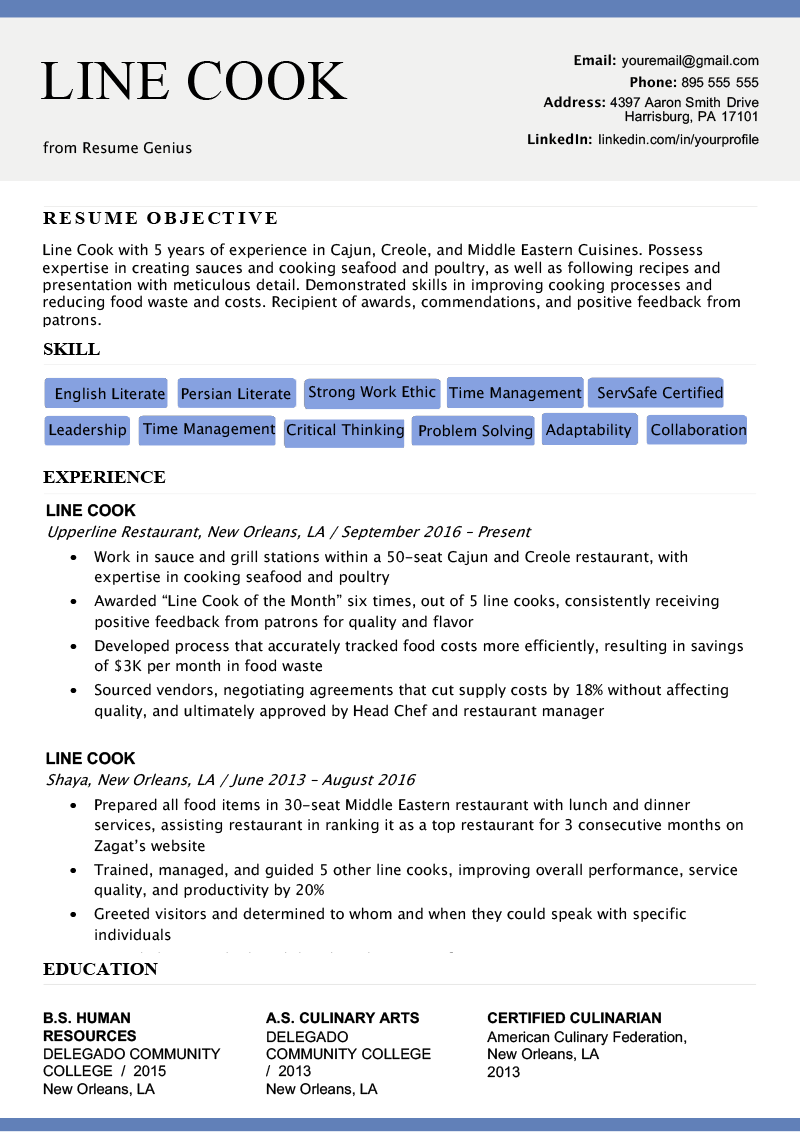 Line Cook Resume Sample & Writing Tips Resume examples