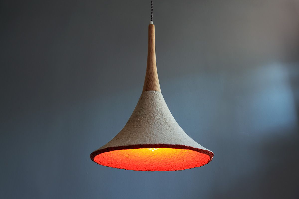 Mush-lume Trumpet pendant lamp, made of natural, biodegradable mushroom material, designed by Danielle Trofe, NY