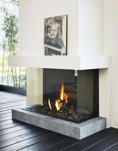 Three- sided Modern Fireplace | Home fireplace, Glass ...